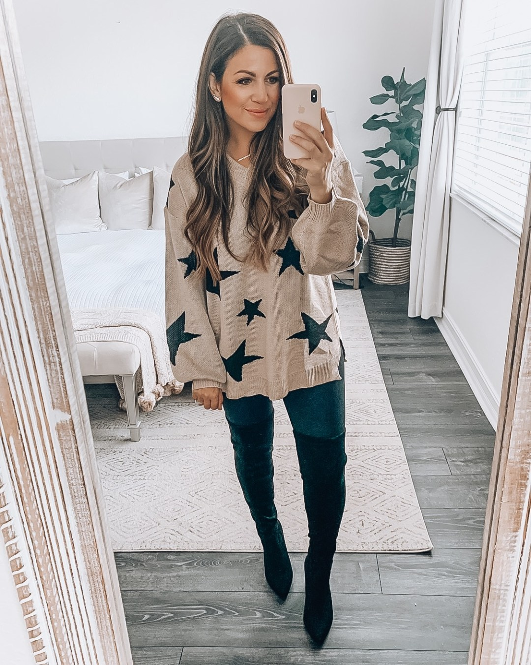 Amazon Fashion star sweater, oversize star sweater, fall fashion outfit, affordable OTK boots