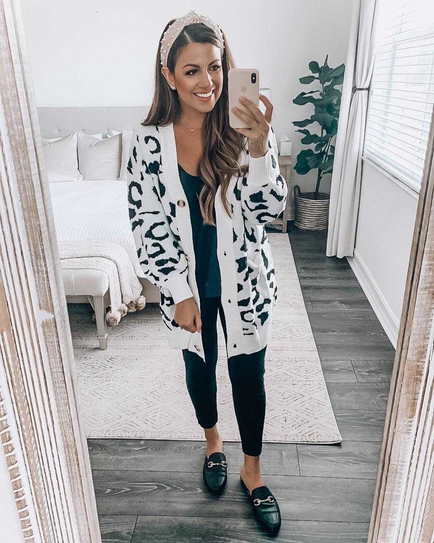 Amazon Fashion white leopard cardigan, Jaime Cittadino Florida Fashion Blogger, Leopard Style Inspo
