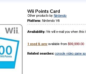 Capture d'écran d'Amazon.com avec une carte de 2000 points Wii à $99,999