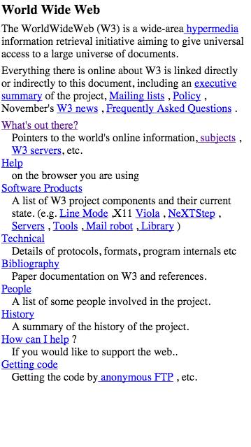 Capture d'écran du tout premier site Web, sur un smartphone