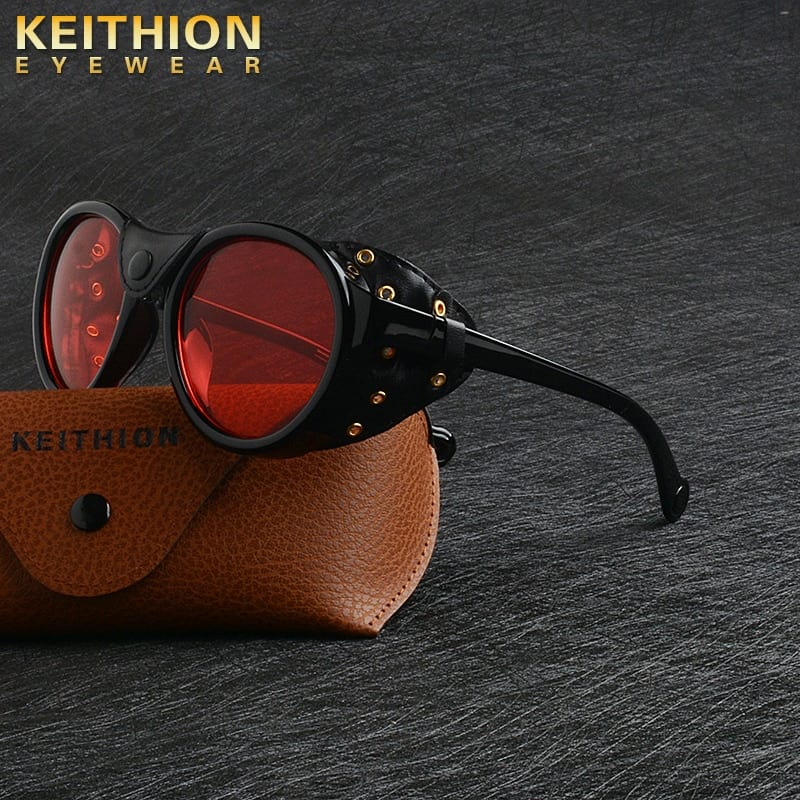 KEITHION 2020 Retro Round Punk Steampunk Sunglasses For Men Leather Side Shield Male Sun Glasses UV400 Eyewear Red