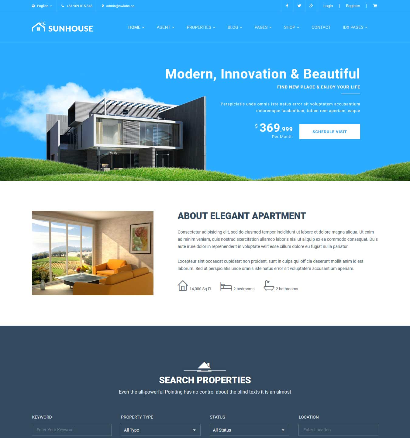Real Estate WordPress | Sun House