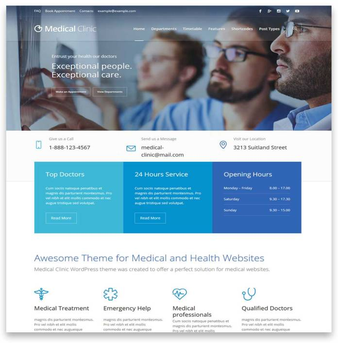 Medical Clinic - health and medical wordpress themes