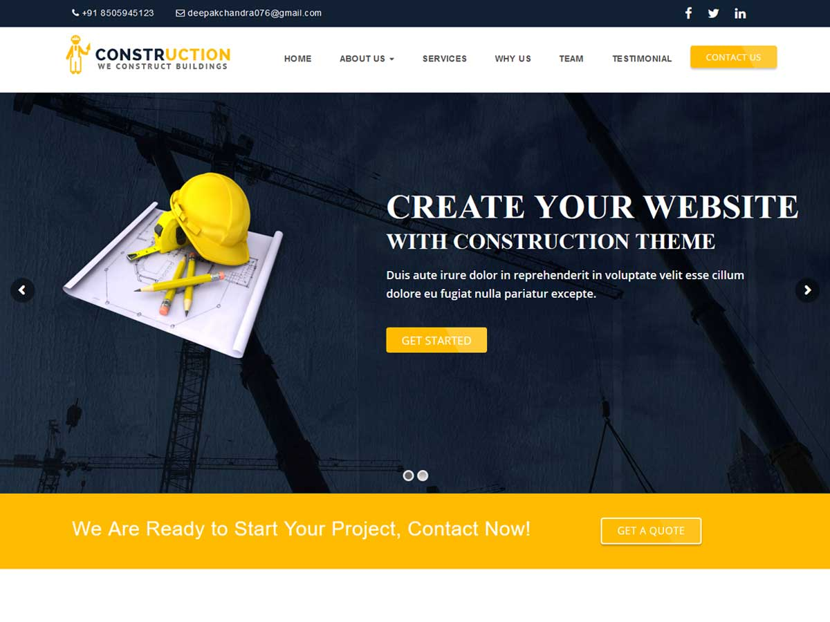 Construction – WordPress Theme for Renovation Business is suitable for construction website