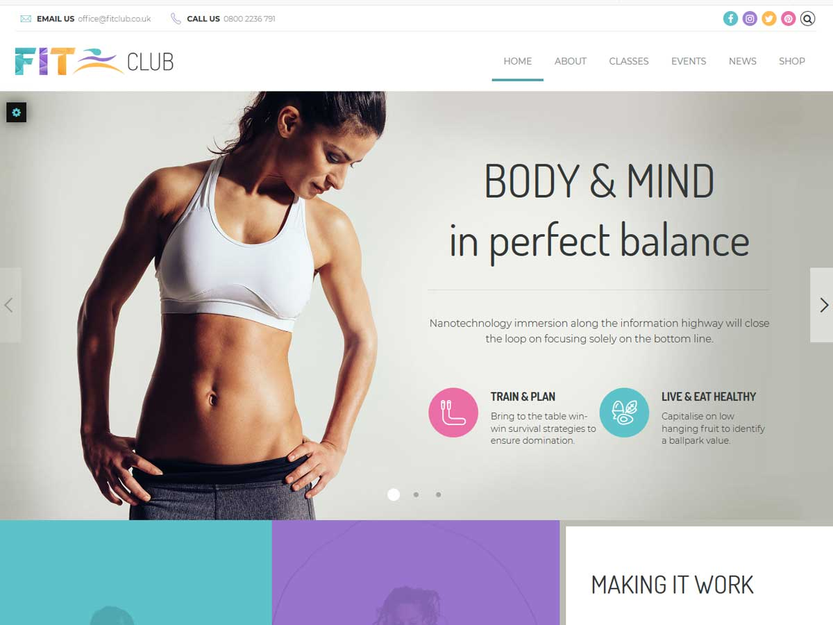 Fitness Club is a fully responsive, Retina ready and easy customizable Health & Gym WordPress theme.