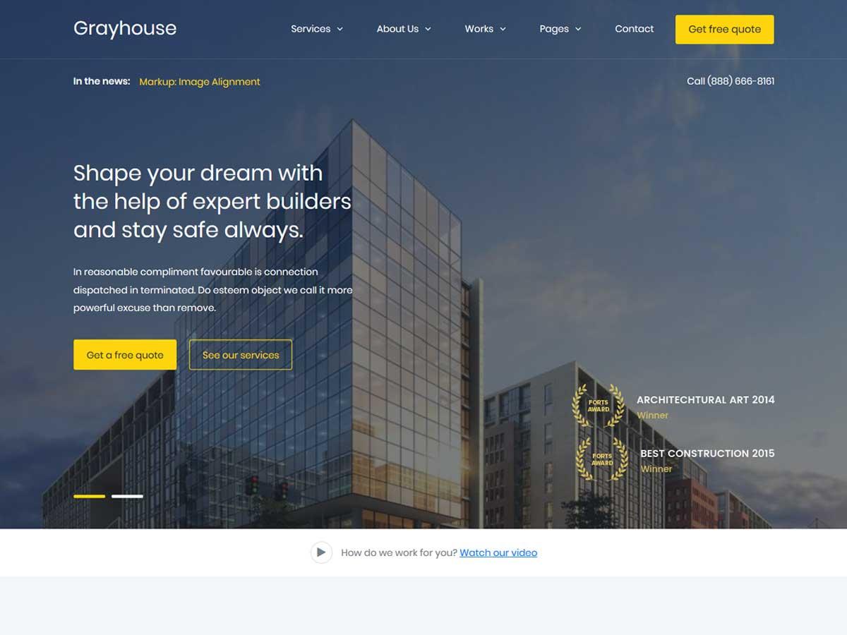 GrayHouse – Modern Construction WordPress Theme