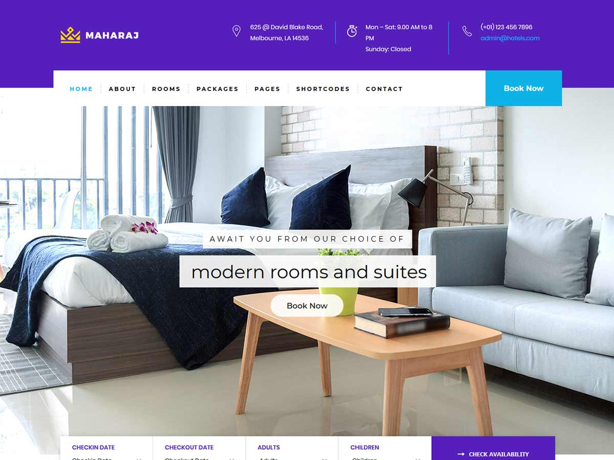 Maharaj - Hotel, Holiday WordPress Theme