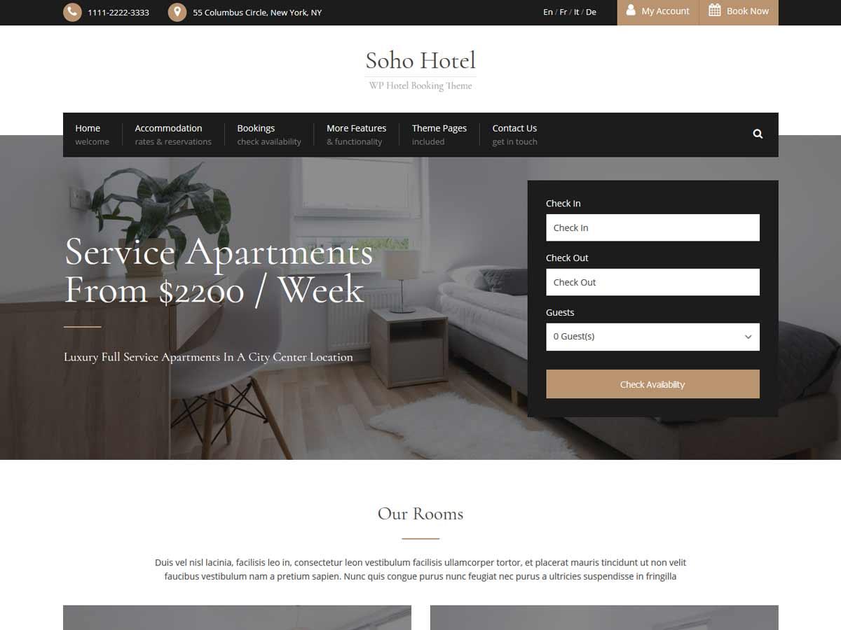 Soho Hotel Booking Calendar