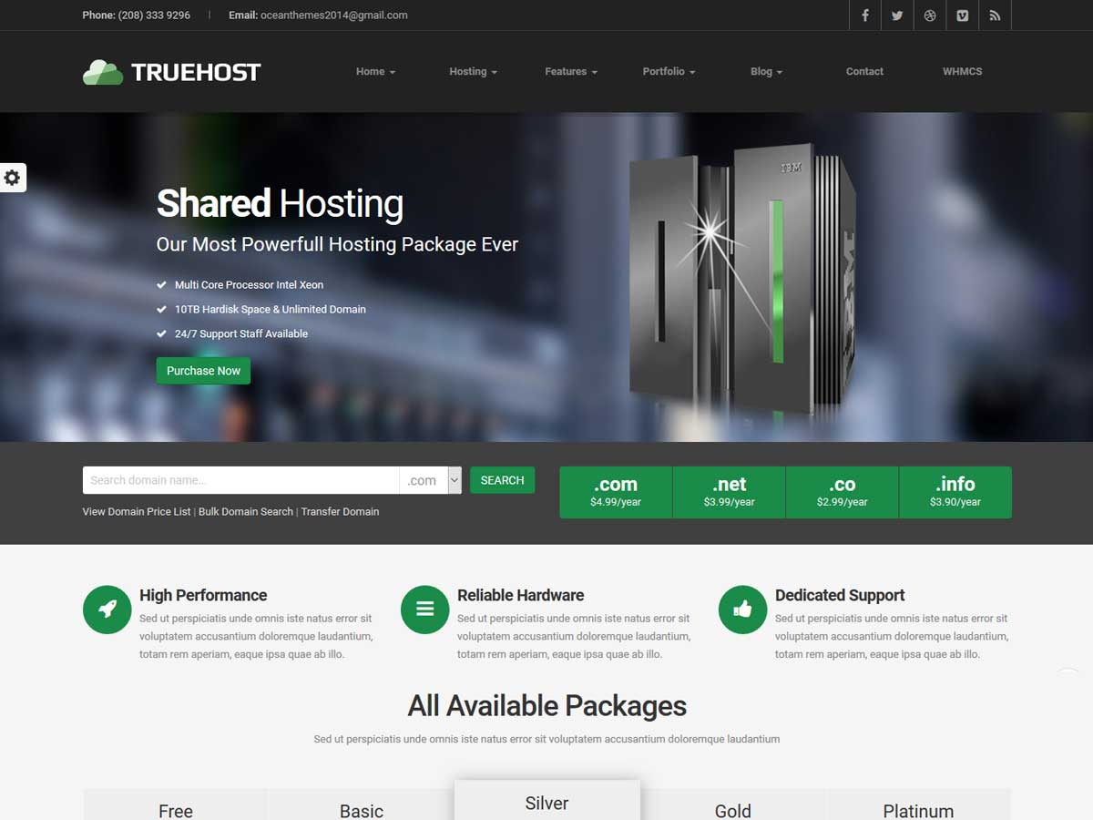 Truehost - Responsive Hosting WordPress Theme for Hosting company website.