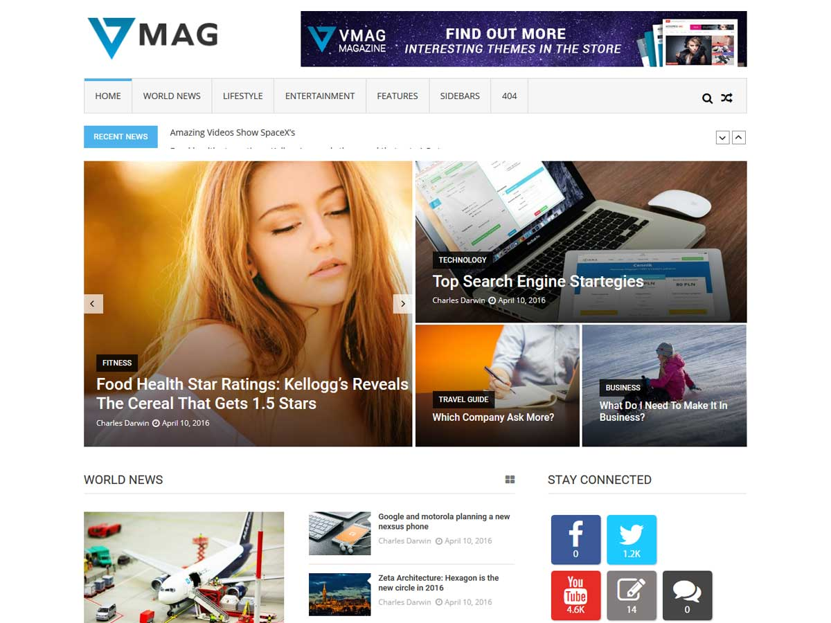 VMag is a Modern and elegant design free responsive WordPress theme.