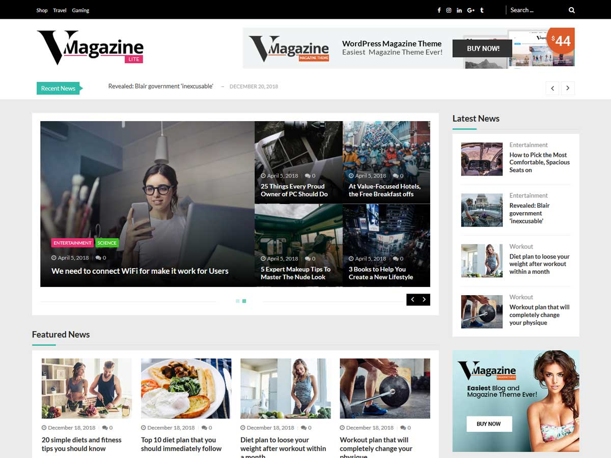 VMagazine Lite is a free multi layout WordPress news magazine theme.