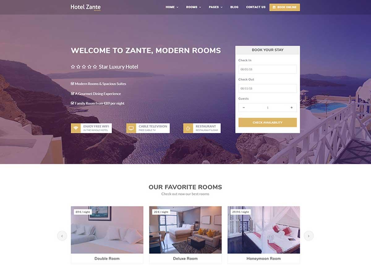 Zante Hotel Booking Theme