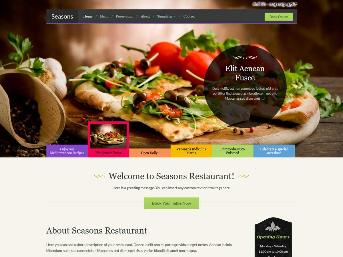 Seasons Restaurant WordPress theme