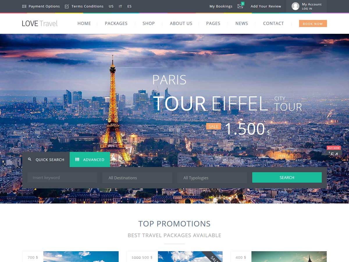 Love Travel Creative Travel Agency WordPress Theme