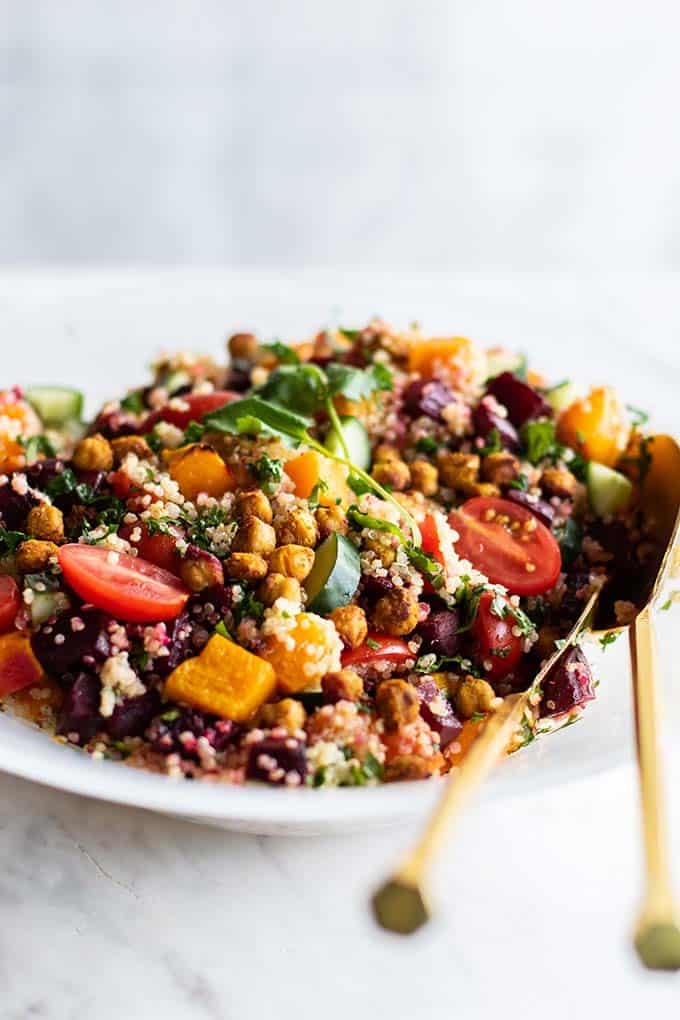 A colorful fall Moroccan salad with roasted and fresh veggies and quinoa.