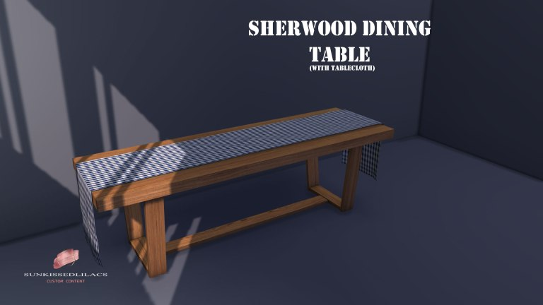 Sherwood Dining Table With Runner sunkissedlilacs-simms-4-custom-content