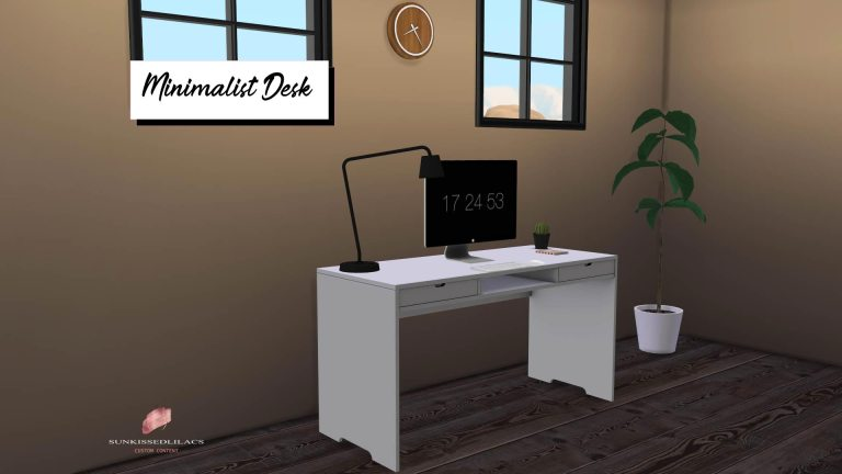 Minimalist Desk, high quality sims 4 cc, sunkissedlilacs, free sims 4 furniture, sims 4 custom content,