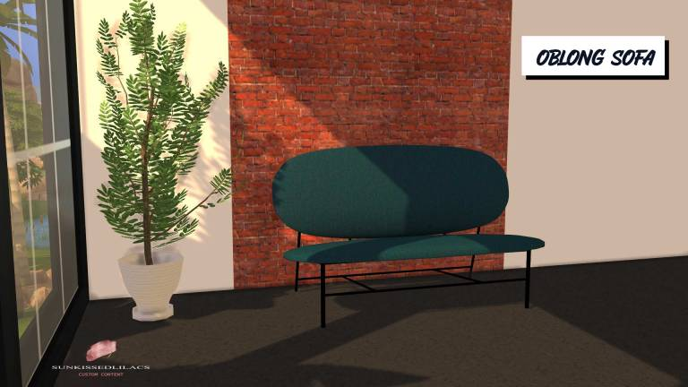 Oblong Sofa, high quality sims 4 cc, sunkissedlilacs, free sims 4 furniture, sims 4 custom content,
