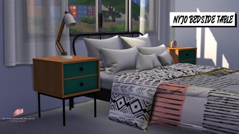 Nyjo Bedside Table, sims 4, custom content, sunkissedlilacs, furniture