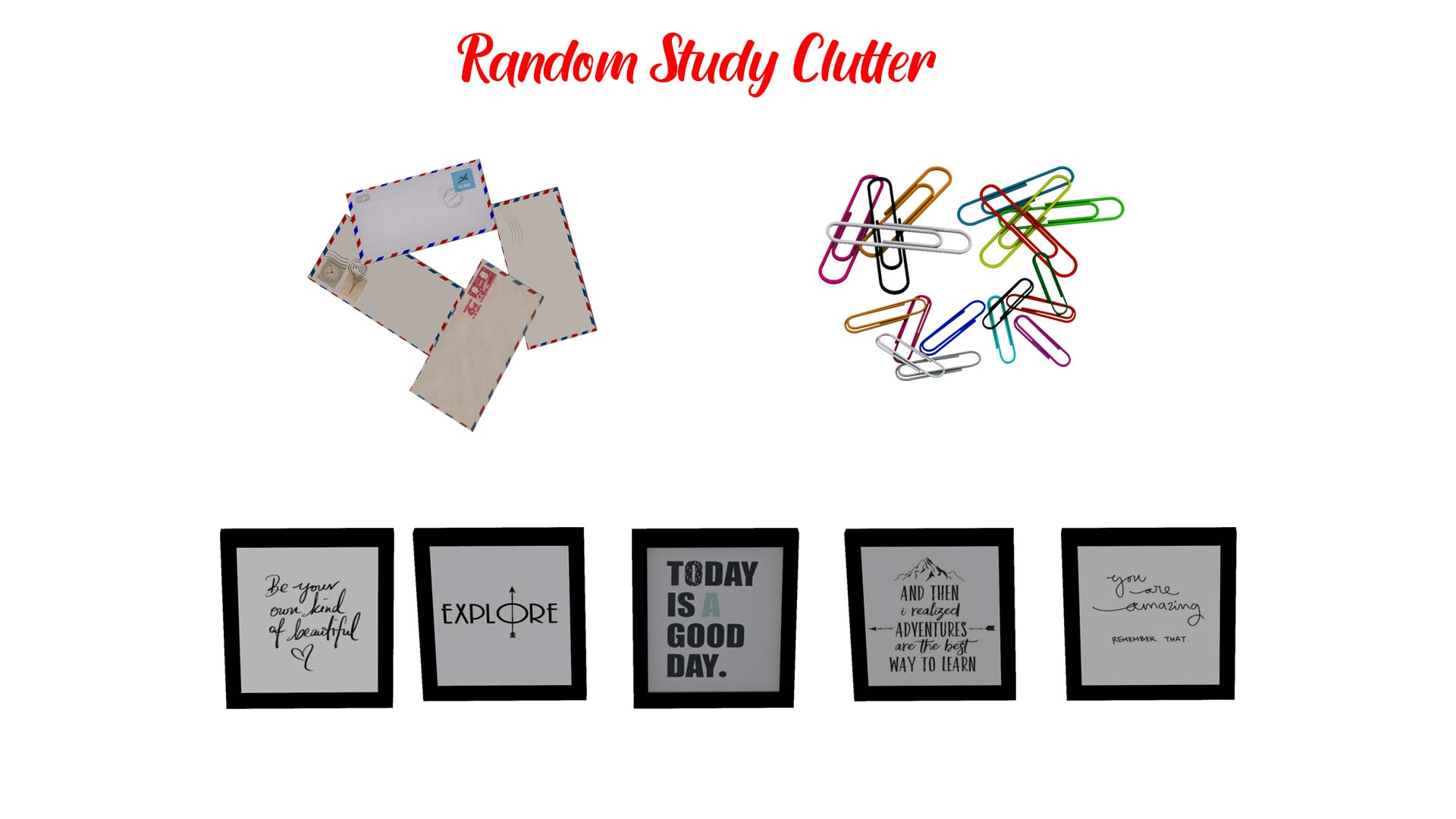 Random Study Clutter, high quality sims 4 cc, sunkissedlilacs, free sims 4 decor, sims 4 custom content,