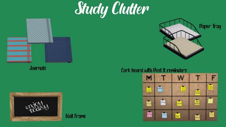 Study Clutter, high quality sims 4 cc, sunkissedlilacs, free sims 4 decor, sims 4 custom content,
