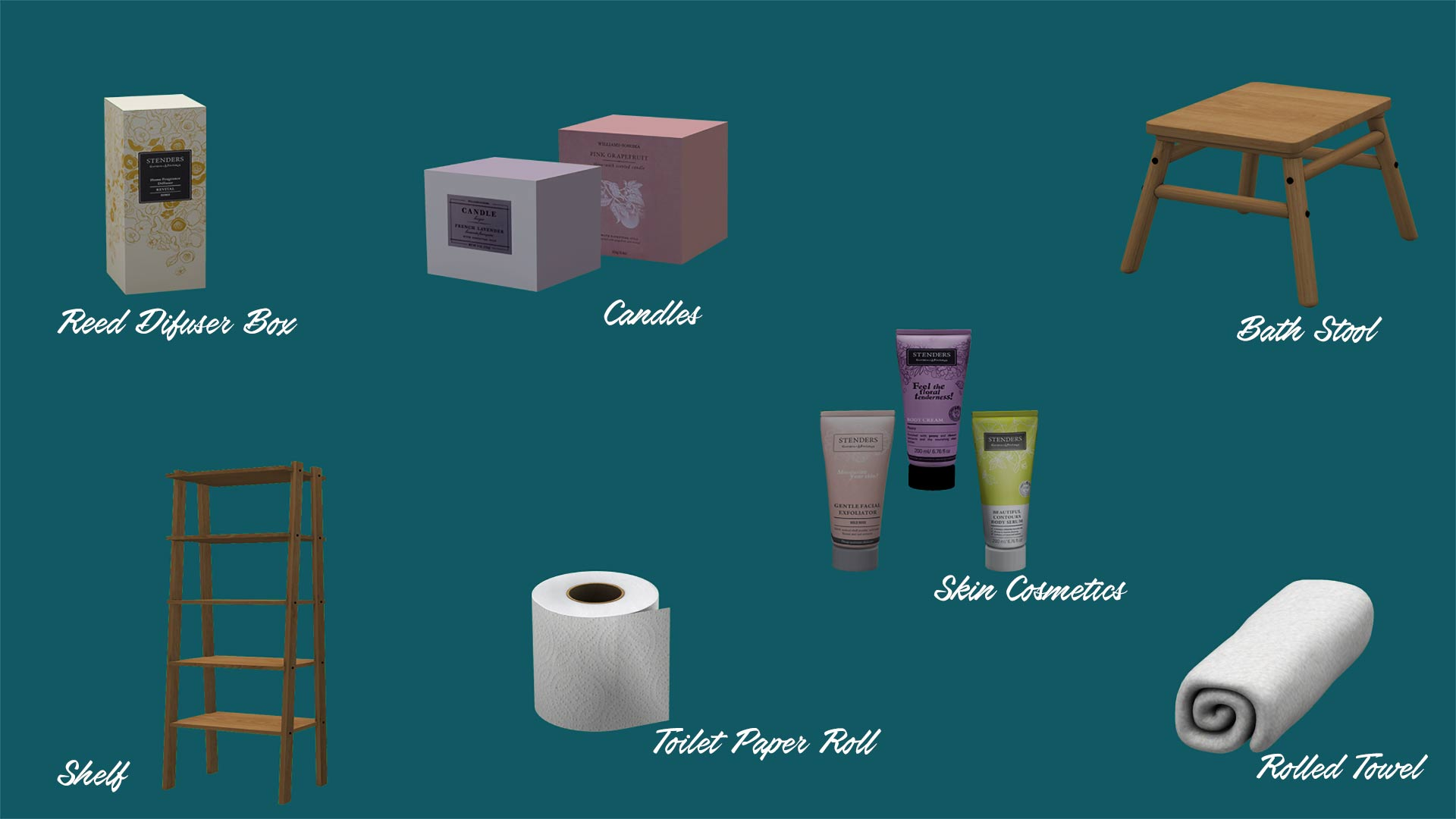 Bathroom Collection, high quality sims 4 cc, sunkissedlilacs, free sims 4 decor, sims 4 custom content,
