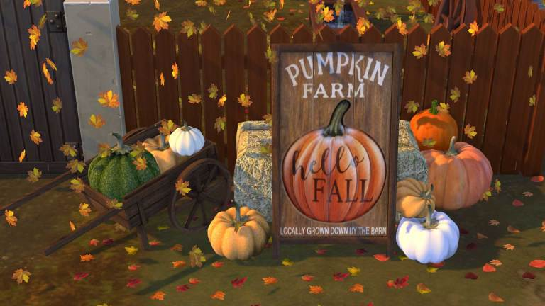 Pumpkin Patch Sign, high quality sims 4 cc, sunkissedlilacs, free sims 4 furniture, sims 4 custom content,