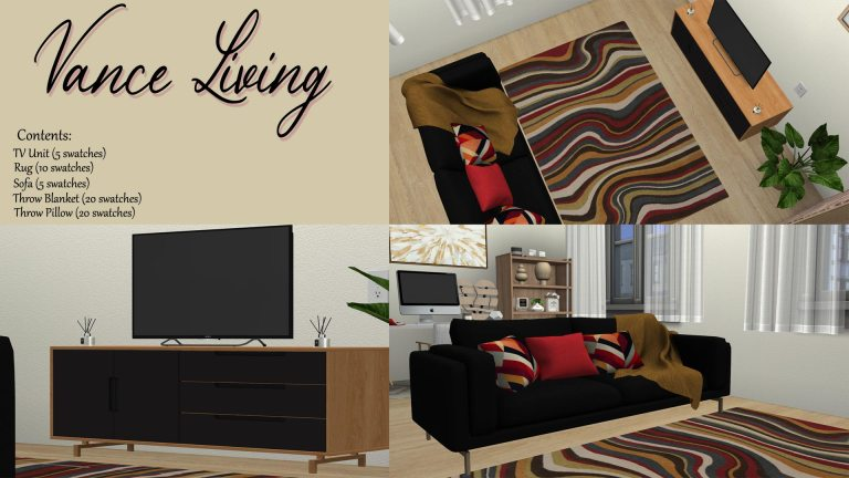 Vance Living, high quality sims 4 cc, sunkissedlilacs, free sims 4 furniture, sims 4 custom content,