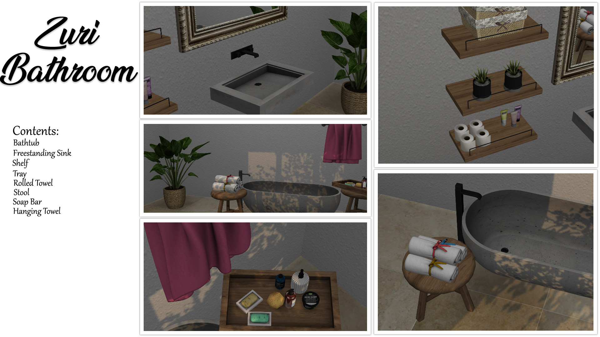 Zuri Bathroom, high quality sims 4 cc, sunkissedlilacs, free sims 4 furniture, sims 4 custom content,