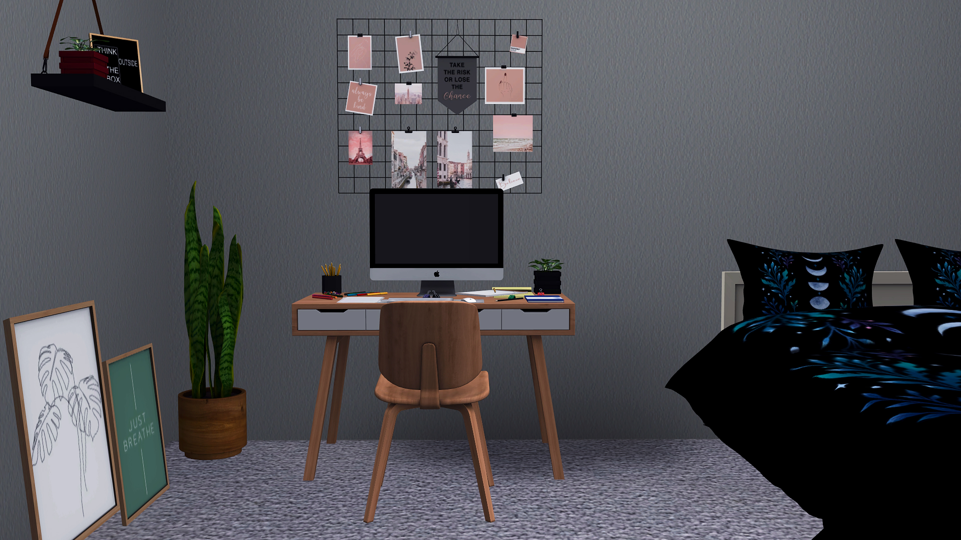 Yvee Study, high quality sims 4 cc, sunkissedlilacs, free sims 4 furniture, sims 4 custom content,