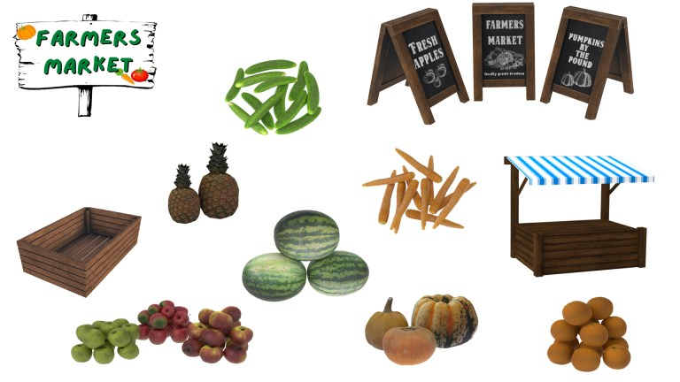 Farmers Market, high quality sims 4 cc, sunkissedlilacs, free sims 4 furniture, sims 4 custom content,