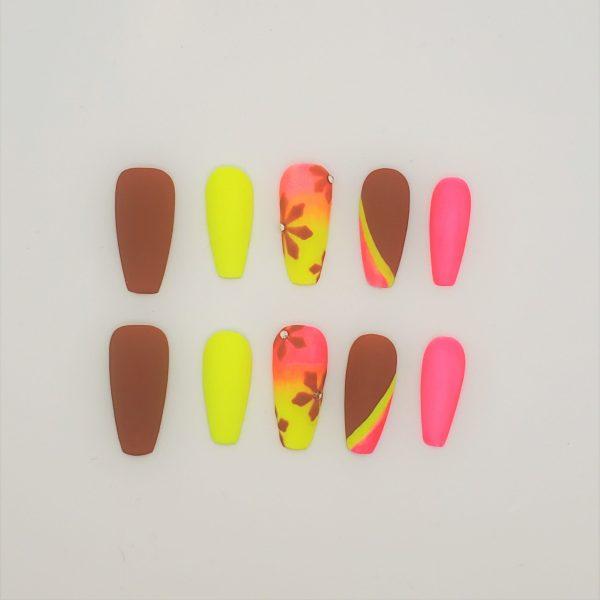 Brown & Neon Design Press On Nails
