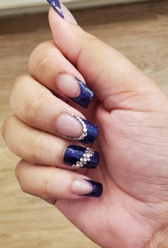 Glitter Navy Bling Press On Nails photo review