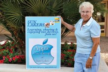 Board member Beverly Shalin invites Apple users to join the Apple Users Club of Sun Lakes to join AUGSL.