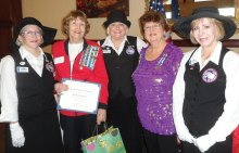 Pictured (left to right) Janet Udall, Barbara Bayley, Jane Chiles, Regent Barbara Hugus and Joan Johnson
