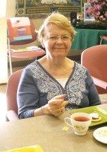 Joyce enjoys her cup of tea!