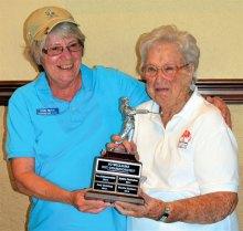 Low Net Champion Linda Trisch (left) and Jo Williams