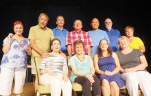 Cast of Dearly Departed - back row: Joan Berger, Chris Mank, Jim Brown, Jim Janowski, Rick Whitney, John Crawford and Ginger Henry; front row, Phyllis Novy, Sandy Ilsen, Susan Schlesinger and Andrea Hummel. Not shown: Merrie Crawford and Sandy Pallett.