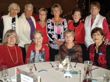 Enjoying the Lady Putters Christmas luncheon from the Tuesday Flight group are standing (left to right) Suzanne Ferrell, Monica Lovrien, Dianne Burns, Mary Bish, Jean Doerr and Nancy Grube. Seated (left to right) are Kathy Mindnich, Ilse Moore, Roseann Soczka and Lorie DeNapoli.