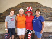 """We Honor those who Serve Us"" Golf Fun Scramble are as follows (L-R) June Parks, Billie Seiberling, Kathy Jones and Lucsa Buzbee"
