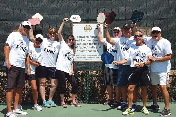 Just a few of us who like to have FUN while playing pickleball; left to right: Todd Williams, Ellen Forbes, Kelly Blickenstaff, Patricia Koepp, Tom Blickenstaff, Rick Paradee, Mike Kovalchik, Doug Williams