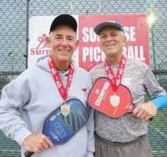 David Zapatka, Sun Lakes, and Jim Barbe won the 5.0 65+ Men's Doubles silver medal at the Tommy Wong Memorial Pickleball Tournament in Surprise, AZ.