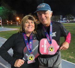 Dave Zapata, Sun Lakes, and Diane Baumgartner won the Gold Medal in 65-69 Mixed Doubles at the SSIPA West tournament in Surprise.