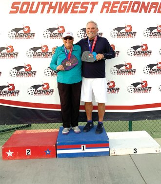 Jamie Nobilt and Don Paven won the gold medal in the 4.0 65-69 Mixed Doubles at the Southwest Regionals Pickleball Tournament.