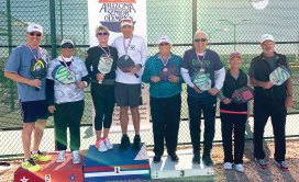 Janice Golden, Sun Lakes, and David Werner won the Goodyear 65-69 Silver Medal Mixed Doubles, Arizona Senior Olympics; Jamie Noblit, Sun Lakes, and Rick Gettleson, Chico, California, won the Bronze Medal in the 65-69 Mixed Doubles, Arizona Senior Olympics.
