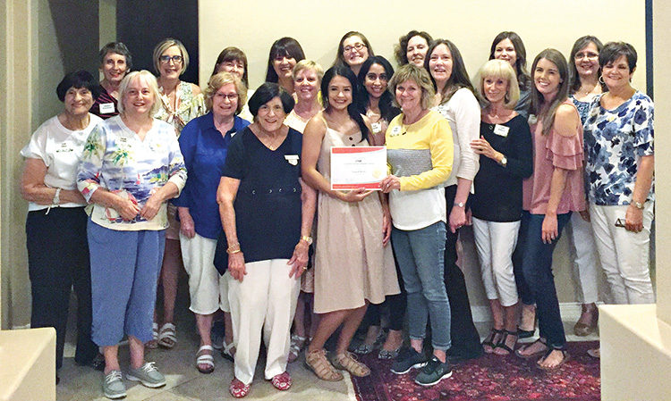 Savannah Morales (center) was presented a $2,500 P.E.O. STAR scholarship by some of the sponsoring members of Chandler P.E.O. Chapter CP.