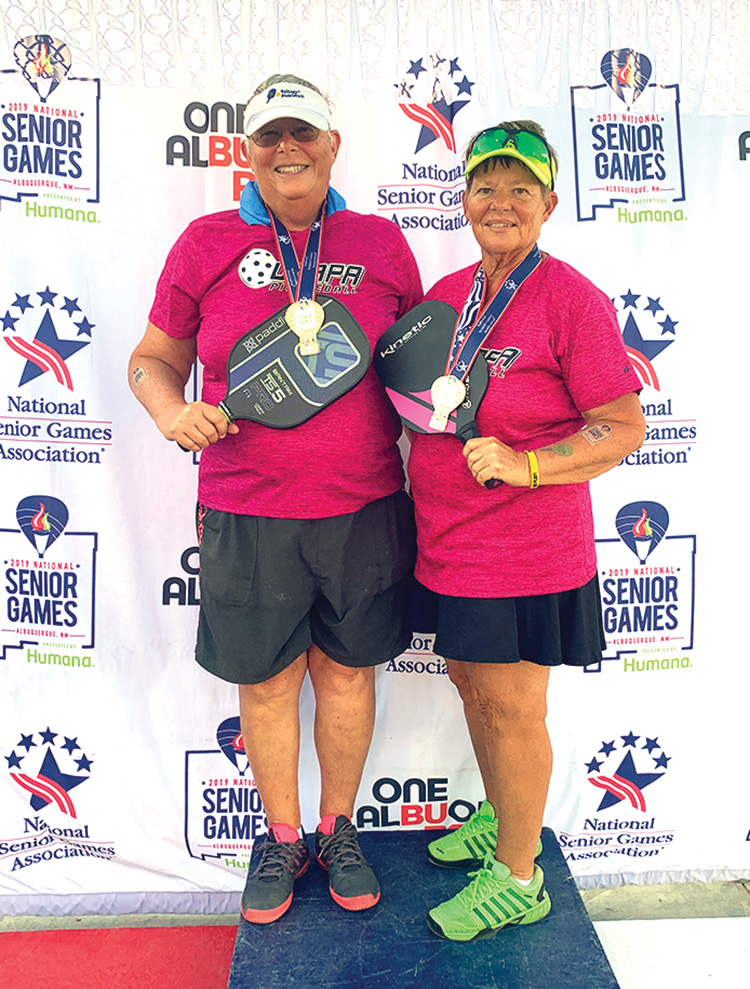 Janice Golden and Jamie Noblit won the gold medal in the 65-69 age group. There were 60 teams in the 65-69 division. They used USAPA Ratings to seed teams, and they were seeded fourth. The ratings were from 5.0 to 3.0.