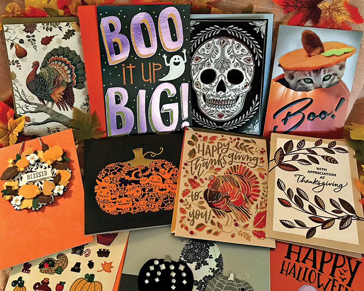 Halloween and Thanksgiving cards will bring a smile to friends and family.