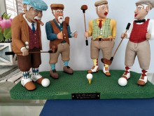 "One of our most talented carvers, Lou Martin, finished this awesome work entitled ""The Foursome,"" and you can just imagine the work that went into it. The expressions, the details, the attire, and colors are just great. What imagination and talent!"