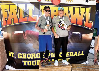 Jamie Noblit, Cottonwood, and Ron Ferrari won the Gold Medal in Mixed Doubles in the Fall Brawl, St. George, Utah.